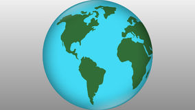 Stylized earth blue element with green continents rotating on grey gradient background, travelling symbol, travel. Stylized earth blue with green continents stock video