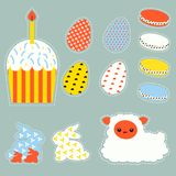 Stylized Easter set with easter eggs,bunnys, cake and lamb Royalty Free Stock Photo