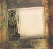 Stylized Egyptian cat , grunge frame Stock Photos