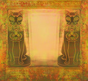 Stylized Egyptian cats -  grunge frame Stock Photo