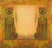 Stylized Egyptian cats -  grunge frame Stock Photo
