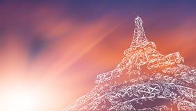 Stylized Eiffel Tower blurred sky background Stock Photography