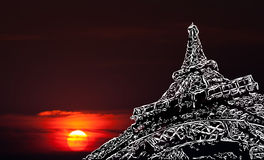 Stylized Eiffel Tower blurred sky background. Paris art background. Stylized image of the Eiffel Tower on a background of blurred sky and sunset with copy-space vector illustration