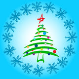 Stylized elegant fir-tree in snow. Conceptual illustration with the decorated Christmas tree in a circle of snowflakes Stock Images