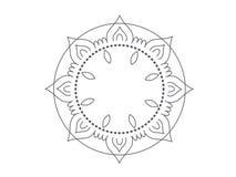 Stylized elegant simple flat mandala design stock illustration