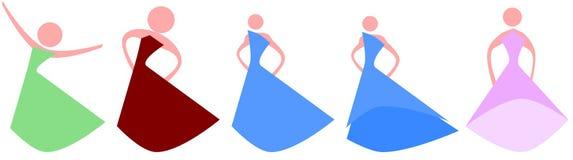 Set of stylized elegant women logos isolated Stock Image