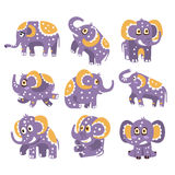 Stylized Elephant With Polka-Dotted Pattern Series Of Childish Stickers Or Prints Of Friendly Toy Animal In Violet  Stock Image