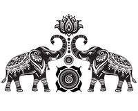 Stylized elephants and lotus flower. Stylized decorated elephants and lotus flower royalty free stock photos