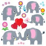 Stylized elephants theme set 4 stock illustration