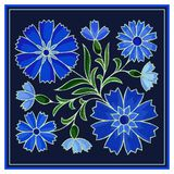 Stylized embroidery cornflower pattern on dark background vector illustration
