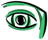Stylized eye in green tones isolated Stock Photography