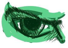 Stylized eye in green tones isolated Royalty Free Stock Photo