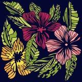 Stylized färgade blommor skissar Royaltyfri Bild