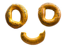 The stylized face of bagels on the isolated background Stock Images