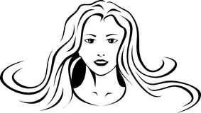 Stylized face of a girl. Done in black and white Royalty Free Stock Image