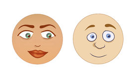 Stylized faces. Male and female stylized cartoony faces Stock Photography