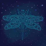 Stylized fantasy dragonfly with human eyes on its wings on shiny galactic space, glowing star lights on mystical night sky backgro Stock Image