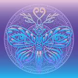 Stylized fantasy neon butterfly with deer antlers and human eyes on its wings round mandala gradient background. Hand drawn design Stock Photography
