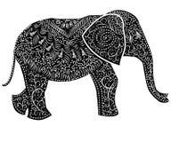 Stylized fantasy patterned elephant. Hand drawn illustration. Separately from backdrop vector illustration