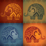 Stylized fantasy patterned elephants in Indian style. Stock Photos