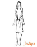 Stylized fashion model figure. Stylized ink fashion model figure sketch. Boutique logo concept in outline. Hand drawing. Vector illustration Royalty Free Stock Photo