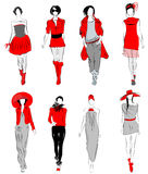 Stylized fashion models Stock Image