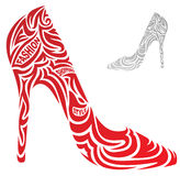 Stylized fashion shoes. Stylized red fashion shoes with typography elements Stock Image