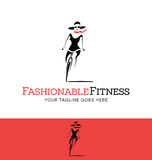 Stylized fashionable girl riding a bicycle. Logo for fashion or fitness related business, website Stock Photos