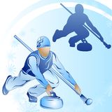 Stylized figure of a curler on a blue background. With snowflakes Royalty Free Stock Photo