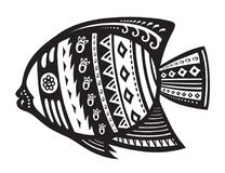 Fish with ornaments in the ethnic style. The stylized figure of a fish in festive patterns. Raster illustration Stock Photography