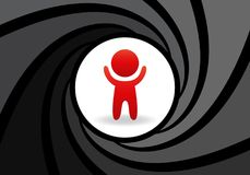 Stylized figure of man with raised hands in an abstract barrel of gun. Concept of safety, complete control over person. Trackings, wars, industrial espionage Royalty Free Stock Photography