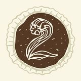 Stylized Figure 2 of the Pastry Cream. Hand-drawn figures on the background of chocolate Stock Images