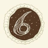 Stylized Figure 6 of the Pastry Cream. Hand-drawn figures on the background of chocolate Stock Photography
