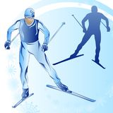 Stylized figure of a skier on a blue background. With snowflakes Royalty Free Stock Photography