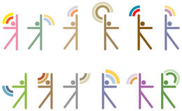 STYLIZED FIGURES OF PEOPLE. ON THE WHITE BACKGROUND Stock Image