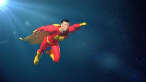 Toy miniature fantasy superhero character figure flying in front of the stars. Stylized figurine hero flying in superhero pose Royalty Free Stock Image