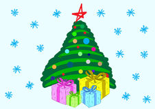 The stylized fir-tree with gifts. Christmas fir-tree with a heap of color gift boxes Royalty Free Stock Images