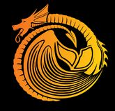 Stylized fire dragon. Vector art with dragon on black background stock illustration