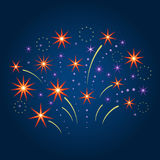 Stylized firework and stars. Vector illustration. Stylized firework and stars on night sky. Vector illustration Stock Photo