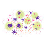 Stylized firework and stars. Vector illustration. Stock Images