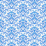 Stylized fish scale japan seamless pattern. Flower. Stylized fish scale japan wave seamless pattern. Flower branches swirls in blue porcelain colors. Fan or Stock Photography