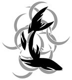Stylized fish tattoo in black and grey  Royalty Free Stock Photo