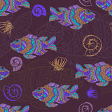 Stylized fishes seamless pattern Stock Image