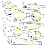 Stylized fishes. Set of abstract sea fish. Cartoon . Collection. Children`s drawings. Line art. Vector. Stock Photography