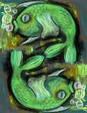 Stylized Fishes with a water bubbles. Under the sea. Pastel drawing on painted background Stock Images