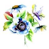 Stylized fjädra blommor Arkivfoto