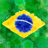 Stylized flag of Brazil. Hexagon background. Vector illustration Stock Photo