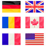 Stylized flags collection. Over white background Royalty Free Stock Photo