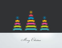 Stylized flat Christmas trees on black background. Royalty Free Stock Images