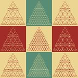 Stylized flat vector Christmas trees icons Royalty Free Stock Images